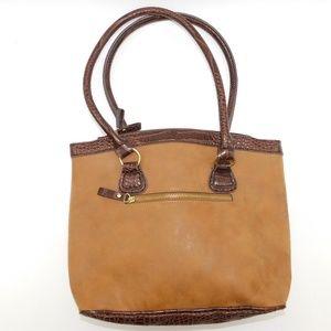 Bueno Tan Leather with Croc Pattern Trim Handbag